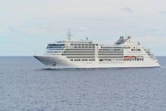 Silversea游览线路海上的银谬斯 库存照片