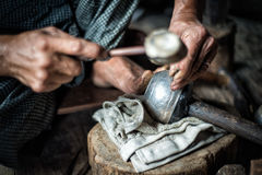 At silversmith`s workshop with traditional tools Stock Image