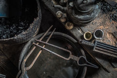 At silversmith`s workshop with traditional tools Royalty Free Stock Photo