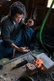 Silversmith, Ywama, Myanmar Stock Photography
