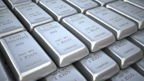 Silverstänger eller tackor i bankvalv eller kassaskåp Finansöglasanimering royaltyfri illustrationer