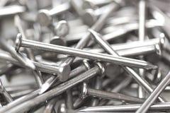 Silverstål spikar Fotografering för Bildbyråer