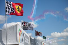Silverstone formula one flags Stock Photo