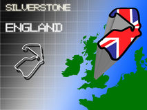 Silverstone. Outline of Silverstone motor racing circuit in England Stock Images