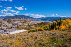 Silverthorne Colorado. And Interstate Highway 70. Colorado Rocky Mountains Stock Photos