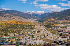 Silverthorne and Dillon Colorado. Silverthorne and Dillon Cities in Colorado. Cities Panorama with I-70 Interstate Highway in the Middle. Early Fall Time Stock Image