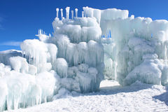 Silverthorne Ice Castles. The Silverthorne Ice Castles are a popular tourist attraction in Silverthorne, Colorado, USA. They are constructed entirely out of ice Royalty Free Stock Image