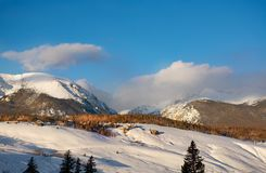 Silverthorne on snowy winter morning. Beautiful Colorado mountain town in winter. Snowcapped mountains and houses. Silverthorne, Colorado, USA royalty free stock photography