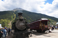 Silverton火车的杜兰戈在Silverton科罗拉多州的一个老银色采矿镇美国 免版税库存图片