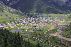 Greetings from Silverton, Colorado. Bird`s eye view of the historic mining town of Silverton, Colorado located deep in the rugged San Juan mountains Stock Photo