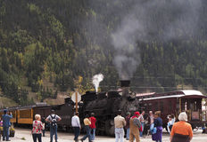 Silverton an old Silver Mining town in the State of Colorado USA. The Narrow Gauge Railway from Durango to Silverton that runs through the Rocky Mountains by the Royalty Free Stock Image