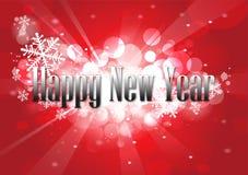 Silvertypo för lyckligt nytt år på röd bokehbakgrund Vektor Illustrationer
