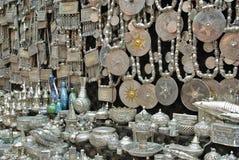 Silverware. Omani traditional silverware in Matrah old market, Oman Royalty Free Stock Photography