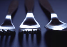 Silverware. Two forks and a spoon Stock Images