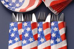 Silverware, 4th of July theme Stock Photos
