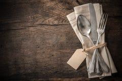 Винтажный silverware с пустой биркой Стоковые Изображения RF