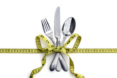 Silverware And Measuring Tape Stock Images