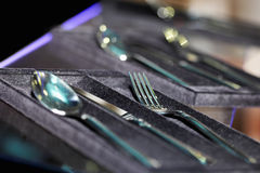 Silverware in boxes Royalty Free Stock Photo