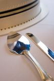 Silverware and Cake Royalty Free Stock Images