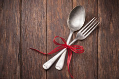 Silverware Celebration Wood Background Royalty Free Stock Photo