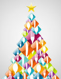 Silverware Christmas pine tree Royalty Free Stock Images