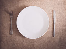 Silverware dinner with table setting Royalty Free Stock Photos