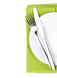 Silverware or flatware set of fork and knife over plate Royalty Free Stock Photos