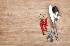Silverware or flatware set of fork, spoon and knife Stock Photos