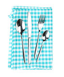 Silverware or flatware set of fork, spoons and knife over kitche Royalty Free Stock Image