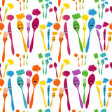 Silverware icons seamless pattern Royalty Free Stock Images