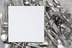 Silverware on a linen fabric Royalty Free Stock Images