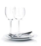 Silverware lub flatware na talerzach i win szkłach zdjęcie royalty free