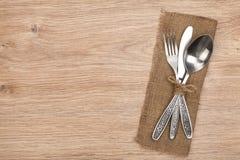 Silverware lub flatware ustawiający rozwidlenie, łyżka i nóż, zdjęcie stock