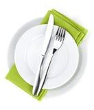 Silverware lub flatware ustawiający rozwidlenie, łyżki i nóż na talerzach, obraz royalty free