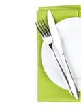Silverware lub flatware ustawiający rozwidlenie i nóż nad talerzem zdjęcia royalty free