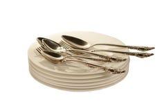 Silverware na talerzach Zdjęcia Royalty Free