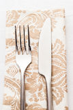 Silverware on napkin Royalty Free Stock Image