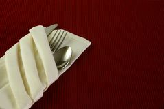 Silverware in Napkin Royalty Free Stock Photography