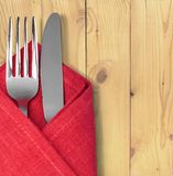 Silverware. Napkin Fork Place Setting Kitchen Utensil Isolated Orange Stock Photo