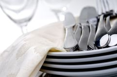 Silverware on a plate Stock Image
