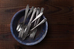 Silverware on Plate Royalty Free Stock Images