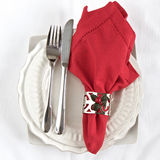 Silverware with red napkin Royalty Free Stock Photos