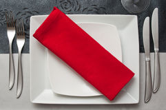 Silverware  on red napkin Royalty Free Stock Images