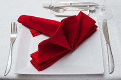 Silverware  on red napkin Royalty Free Stock Image