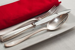 Silverware  on red napkin Stock Image