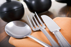 Silverware in a restaurant Stock Photos