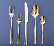 Silverware Set with Fork, Knife, and Spoon Stock Image
