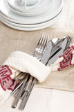 Silverware and towel Royalty Free Stock Photos
