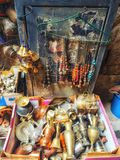Silverware and trinkets for sale in Old City Jerusalem. Israel stock image