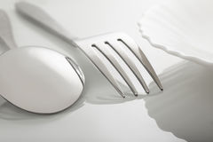 Silverware on white table Stock Image